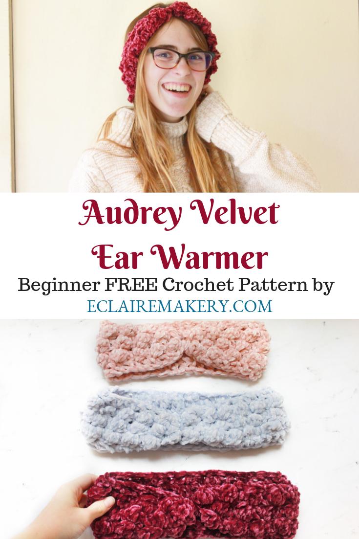 Audrey Velvet Earwarmer Free Crochet Pattern Eclaire Makery