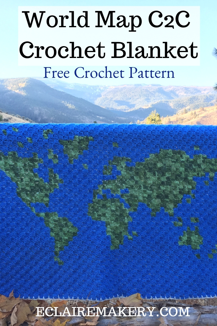 World Map C2c Crochet Blanket E Claire Makery