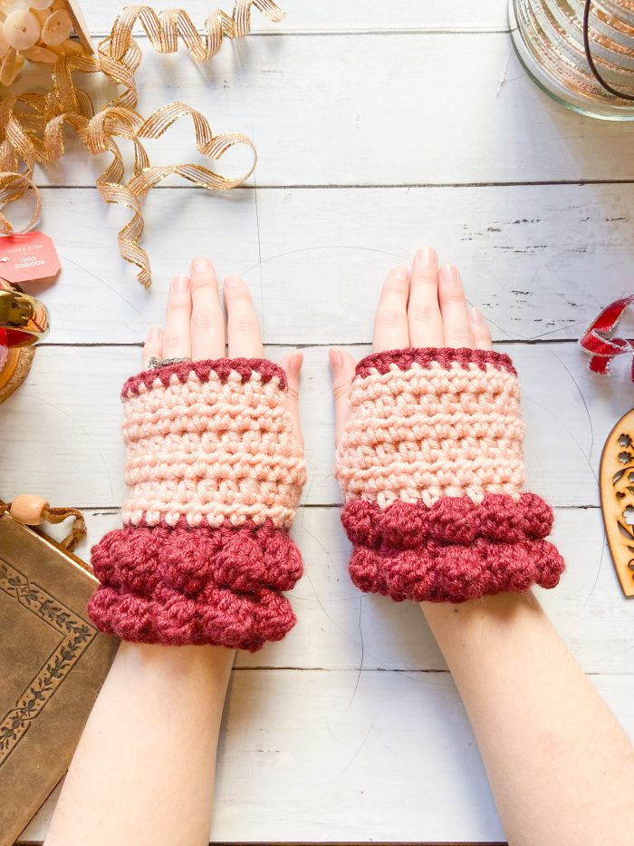 Bobble Fingerless Gloves by E'Claire Makery